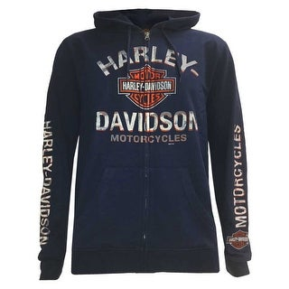 Harley-Davidson Men's Flaming Asphalt Full-Zip Fleece Hoodie, Navy 5AB1-HF0R