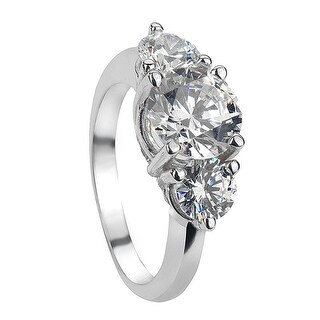 ELVA Vintage Round Three Stone White Sapphire Palladium Engagement Ring