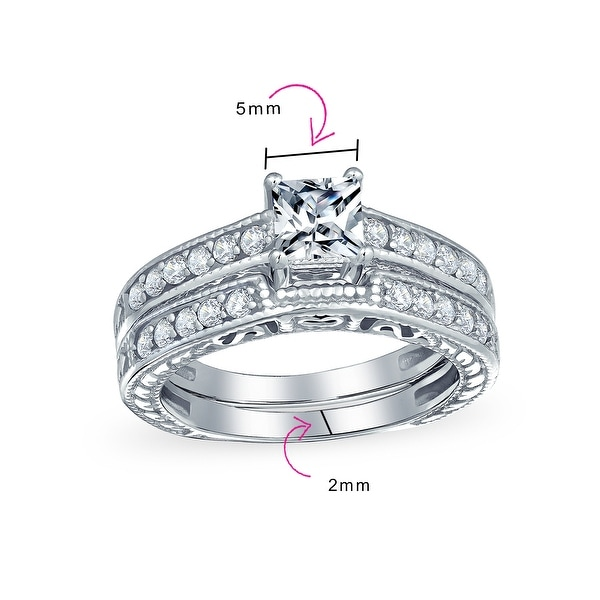 Unique Real 925 Sterling Silver 1.25CT Cubic Zircon Wedding Engagement Ring Set