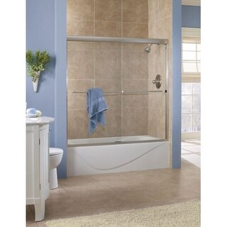 """Foremost CVST5455-CL Cove 55"""" High x 54"""" Wide Sliding Framed Tub Door with 1/4"""""""
