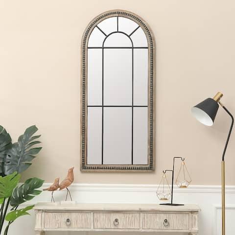 """Natural Wood Metal Insert Window Wall Mirror - 47.75"""" H x 22"""" W"""