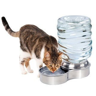 Stainless Steel Pet Waterer Dog Cat Water Fountain Bowl - 1 Gallon Capacity