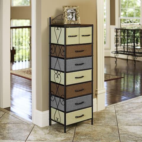 Household Essentials Victorian 8 Drawer Tower Storage Dresser or Chest Black