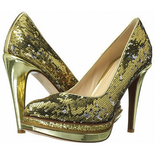 Cole Haan NEW Gold Shoes Size 11B Platforms Chelsea Sequin Heels