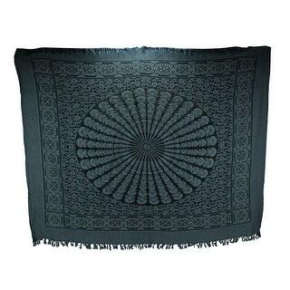 Blue and Black Boho Cotton Fringe Mandala Tapestry