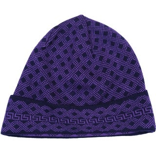 Versace VHB0392 0002 Purple Knitted Beanie Wool Blend Hat
