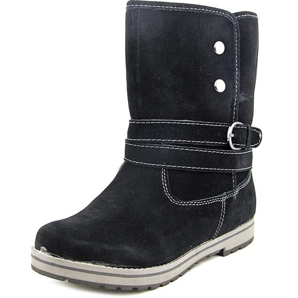 White Mountain Powder Women Round Toe Suede Black Winter Boot