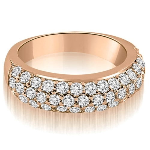 1.30 cttw. 14K Rose Gold Three Row Round Cut Diamond Wedding Ring