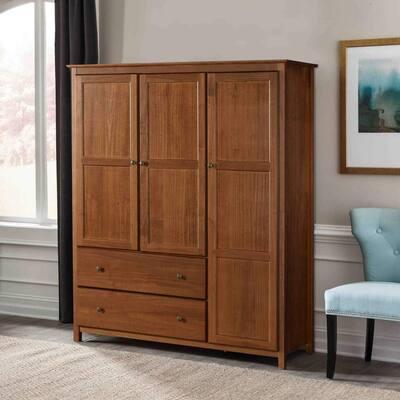 Grain Wood Furniture Shaker 3-door Solid Wood Armoire - 60x72x22