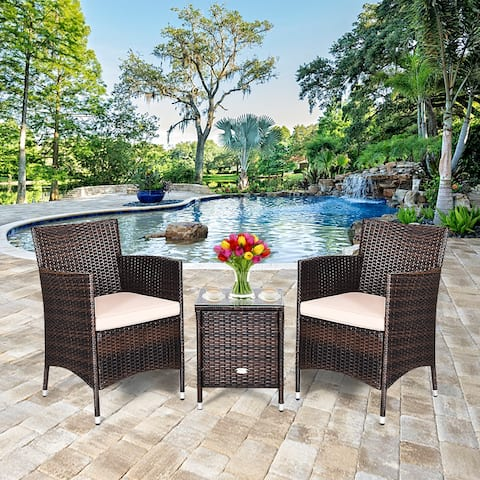 Costway Outdoor 3 PCS PE Rattan Wicker Furniture Sets Chairs Coffee