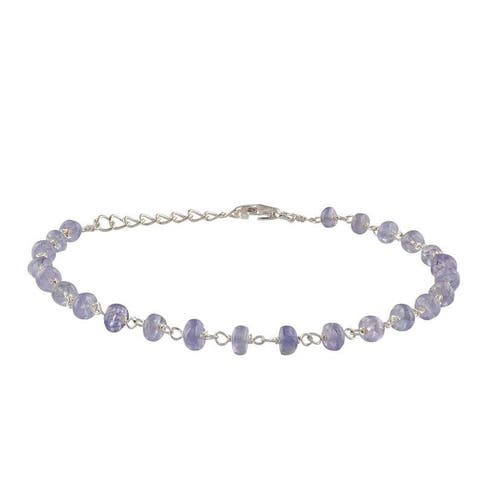 Evaluesell Handmade Sterling Silver Tanzanite Gemstone Beaded Bracelet - 10-12 carats