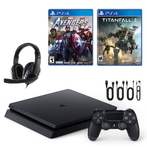 PlayStation 4 Slim with Avengers, Titanfall 2 and Universal Headset - Black