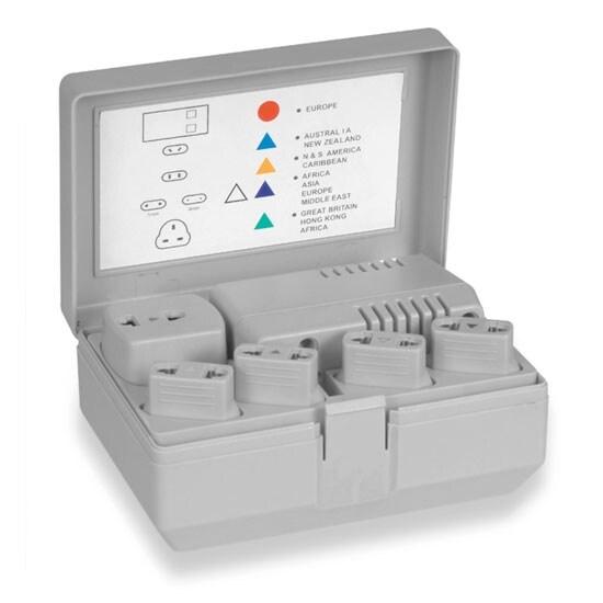 Travel Voltage Converter Transformer 50-1600 Watt Kit with Worldwide Socket Plug Adapters- Step Down 220/240V to 110V/120V