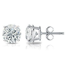 GIA Certified 14k White Gold Round Diamond Stud Earrings 4-Prong (1 cttw, K-L, SI1-SI2) PB