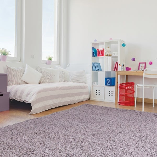 SHAG AREA RUG PERFECT FOR THE KIDS BEDROOM OR PLAYROOM IN LAVENDER PURPLE