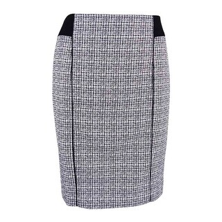 Calvin Klein Women's Petite Piped Stitched Tweed Skirt
