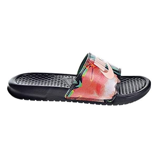 8c824ea5 Nike Womens Benassi JDI Print Sandals Black/Crimson Tint/Green Glow  618919-019 (8 B(M) US)