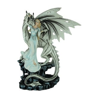 Young Fairy and White Dragon Statue On Ledge Statue 19 inch - 18.75 X 14.5 X 10.5 inches