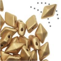 Czech Glass DiamonDuo, 2-Hole Diamond Shaped Beads 5x8mm, 12 Grams, Matte Gold
