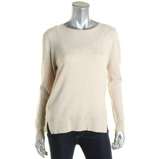 Chelsea & Theodore Womens Pullover Top Ribbed Trim Long Sleeves