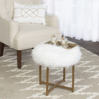 Link to Silver Orchid Hartau White Faux Fur Round Stool with Goldtone Metal base Similar Items in Living Room Furniture