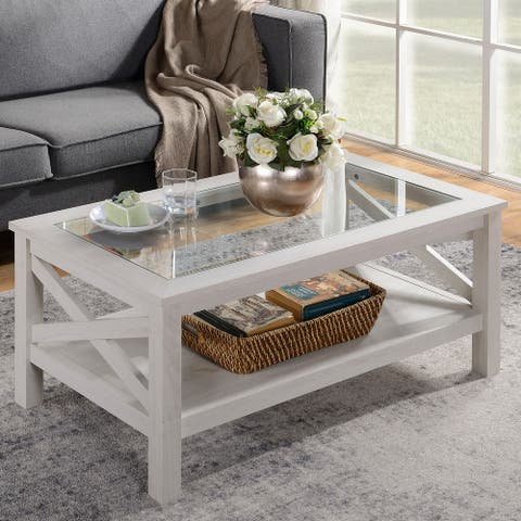 HOMCOM Traditional Coffee Table with Wood Frame, Tempered Glass Tabletop and Underneath Storage Shelf, White Oak