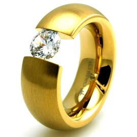 Stainless Steel Gold Colored Plated Domed Ring with Large Suspended CZ
