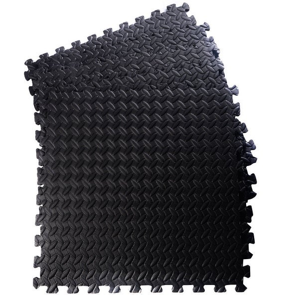 Costway Black 48 Sq Ft EVA Foam Floor Interlocking Mat Gym