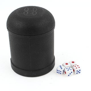 Unique Bargains Game Dice Roller Cup Black w 5 Dices