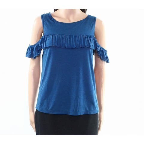 Willow & Clay Womens Medium Ruffle Cold-Shoulder Knit Top
