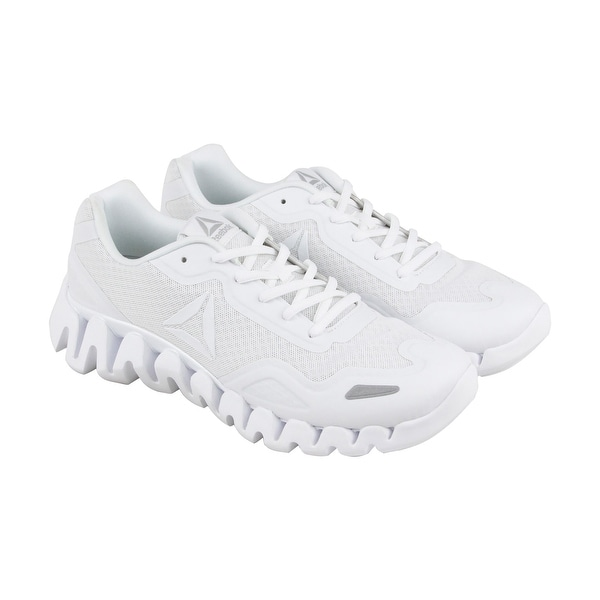 Reebok Zig Pulse Mens White Mesh Athletic Lace Up Running Shoes