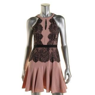 BCBG Max Azria Womens Cocktail Dress Lace Overlay Sleeveless