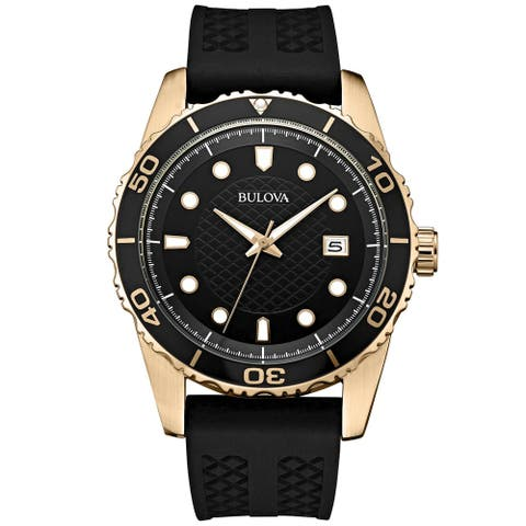 Bulova Men's 98B261 Goldtone Stainless Black Silicone Strap Watch - Gold-Tone