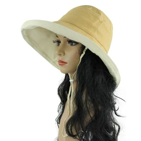 Womens Bucket Hat Cotton Sun Protection Packable Summer Beach