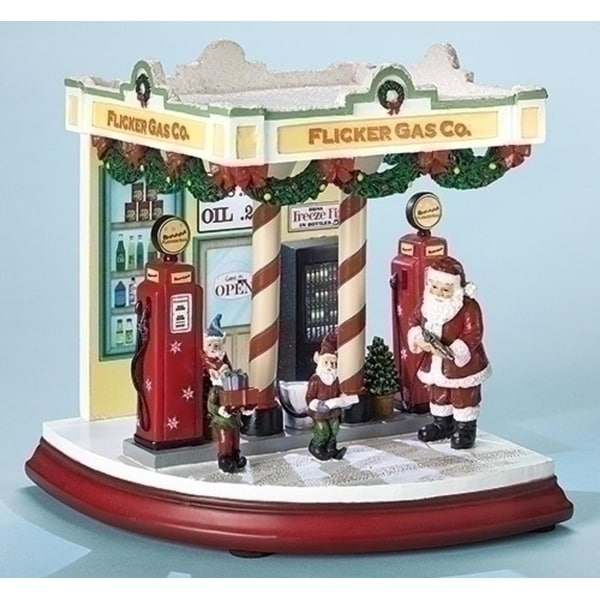 "7.25"" Amusements LED Lighted Musical Retro Gas Station with Santa Christmas Decoration"