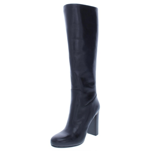 3c377b081a9 MICHAEL Michael Kors Womens Janice Knee-High Boots Leather Block Heel - 5.5  Medium (