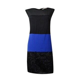 RACHEL Rachel Roy Women's Colored Block Shift Dress - black/pacific blue (3 options available)