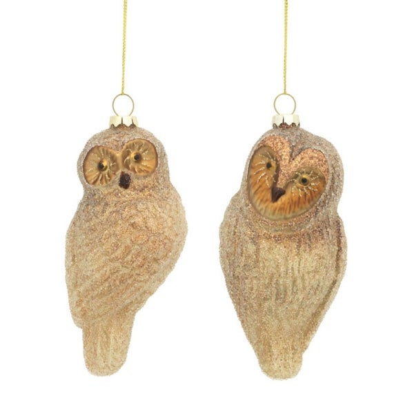 "Club Pack of 24 Glittery Glass Owl Christmas Ornaments 5.5"" - GOLD"