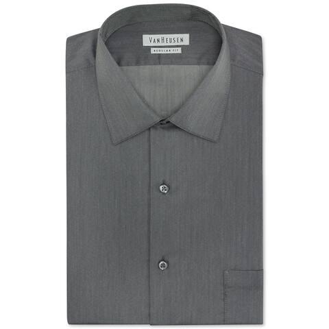 """Van Heusen Mens Herringbone Solid Button Up Dress Shirt, Grey, 16"""" Neck 32""""-33"""" Sleeve"""