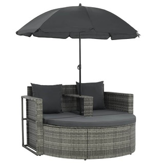 "vidaXL 2 Seater Garden Sofa with Cushions and Parasol Gray - 51.2"" x 22.8"" x 30.3"""
