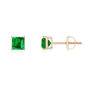 Angara Classic Basket Set Square Emerald Stud Earrings