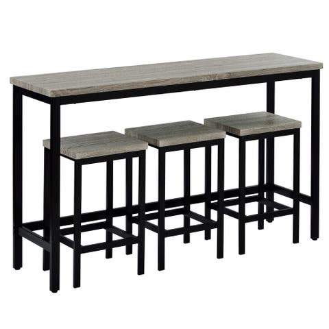 Counter Height Extra Long Dining Table Set with 3 Stools Pub Kitchen Set Side Table with Footrest