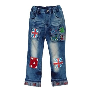 Rock'nStyle Boys Blue Flag Detail Patch Stretchy Denim Pants