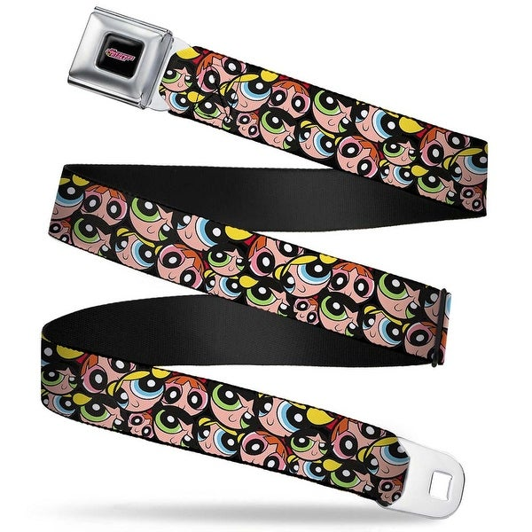 The Powerpuff Girls Black White Pink Full Color The Powerpuff Girls Faces Seatbelt Belt