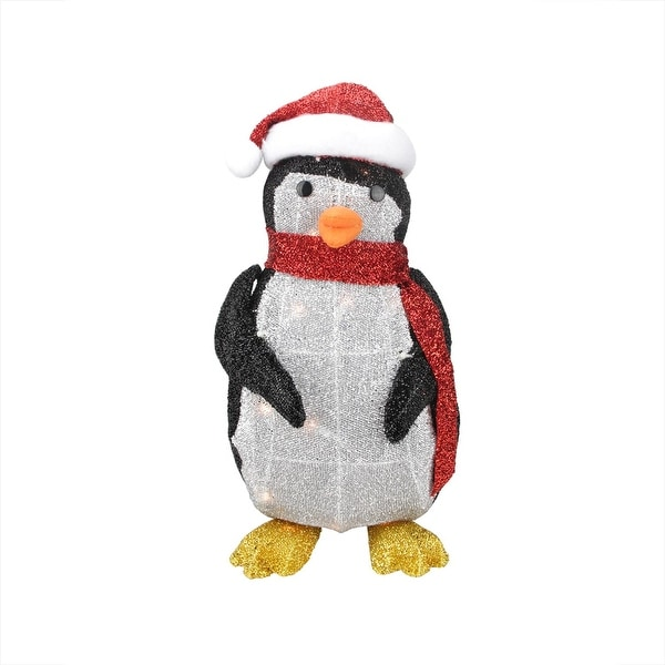 "19.5"" Lighted Tinsel Penguin with Santa Hat Christmas Outdoor Decoration - black"