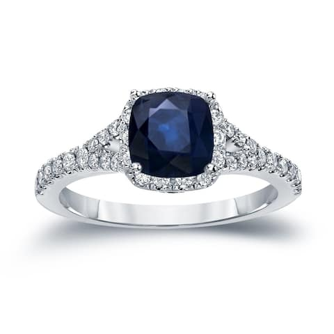 Auriya 14k Gold 1 carat Cushion Cut Blue Sapphire and 1/2ctw Halo Diamond Engagement Ring