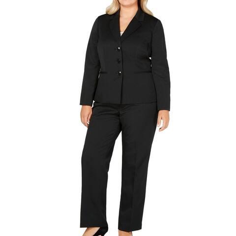 Le Suit Women's Pant Suit Black Size 20W Plus Stripe Notch Collar