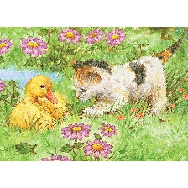 "Mini Color Pencil By Number Kit 5""X7""-Kitten & Duckling"
