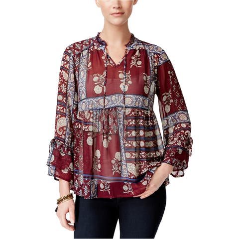 Style&Co. Womens Sheer Peasant Blouse