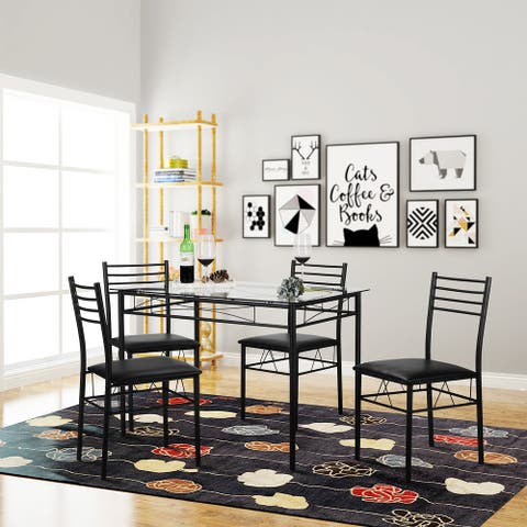 VECELO Kitchen Dining Table Sets,Tempered Glass Table with 4 Chairs(Black/Sliver)